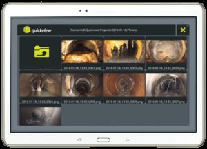 Kamera za hitre preglede cevovodov QuickView - Programska oprema na tablici